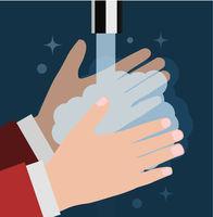 Wash your hand. Vector flat illustration on dark blue background