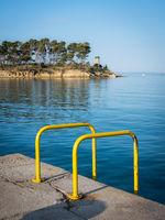 Bathing ladder on the island of rab in croatia