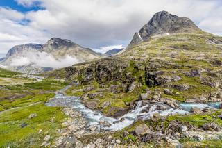 Norwegian landscape around around Trollstigen center