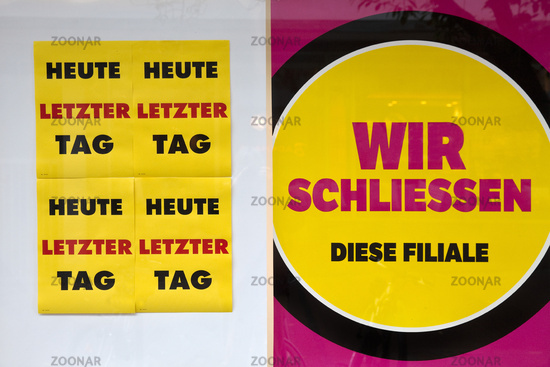 poster business closure and Today last day, Witten, North Rhine-Westphalia, Germany, Europe