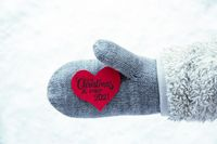 Glove, Fleece, Snow, Red Heart, Merry Christmas And A Happy 2021
