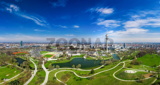 A wonderful spring day in Munich Olympiapark from above as a drone shot.
