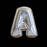 Silver Balloon Letter A, Realistic 3D Rendering