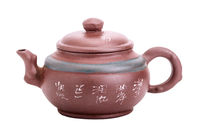 Chinese yixing ceramic handmade teapot isolated on
