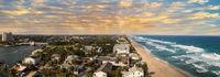 Sunset over Aerial view of Hillsboro Beach