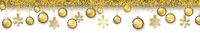 Christmas Golden Baubles Long White Header
