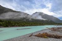 Cloudy morning at Lech river near Weissenbach, Austria