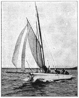 Sailing yacht. Illustration of the 19th century. White background.