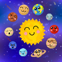 Set cartoon planets of solar system with cute faces in pixel art style on space background