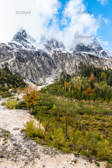 Hiking trail in the Wimbachgries with view of the Hochkalter massif, NP Berchtesgaden, Germany