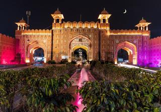 Ajmeri Gate in Jaipur, Rajasthan, India, night illuminated view