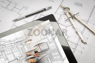 Computer Tablet Showing Kitchen Illustration On House Plans, Pencil, Compass