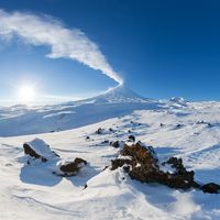 Best mountain travel destination for active vacation in winter season, snowy volcanic landscape