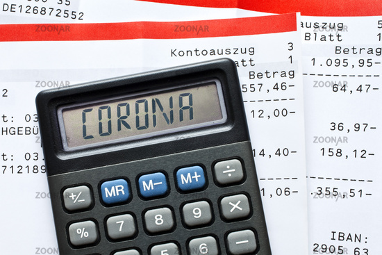 Calculator with the font Corona and account statements, Corona crisis on the economy, Germany