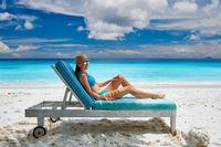 Woman on beach at Seychelles
