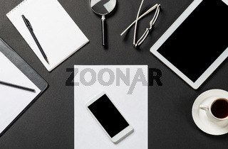 Top view of modern workplace with blank paper