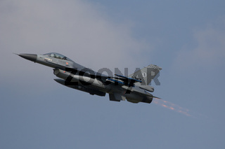 Leeuwarden, The Netherlands Apr 11 2016: An F-16 Fighting Falcon taking off during the Frisian Flag exercise