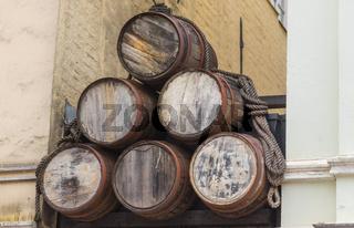 stack of wooden barrels