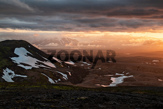 Sunset near Kerlingarfjoll geothermal area, Iceland