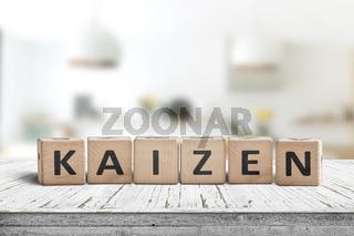 Kaizen improvement sign made of blocks