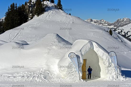 Entrance to the ice hotel, Gstaad Igloo Village, Saanenmoeser, canton of Bern, Switzerland