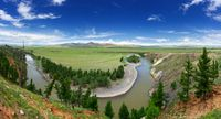 Valley with Orkhon river bend