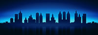 city skyline by night background banner