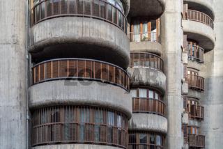 Torres Blancas Building. Iconic concrete residential skyscraper in Madrid