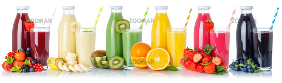 Collection of fruit juice drink glass and bottle isolated on white