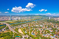 Vienna. Aerial view of northern Vienna cityscape and Danube river