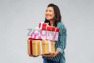 happy asian woman with birthday present