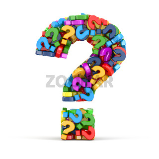 Question symbol on white isolated background. Three-dimensional concept.