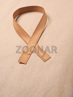 Wooden edge veneer curl on a natural paper,symbol for Liver Cancer awareness, World Cancer Day