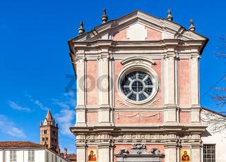 Facade of orthodox church in Alba, Italy.