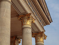 Top part of pillar, Greek-style columns with golden top