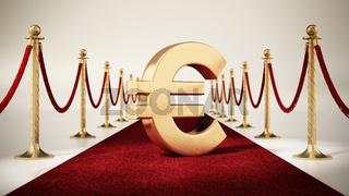Euro sign standing on red carpet with velvet ropes on both sides. 3D illustration