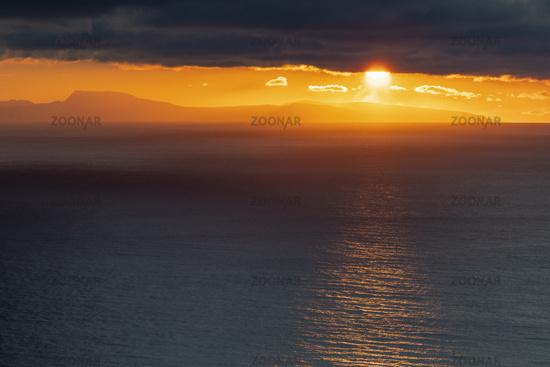 Sunset, Barents Sea, Soeroeya Island, Finnmark, Norway