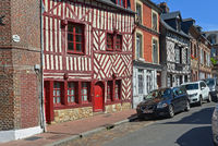 Half-timbered Houses  at  Notre Dame street , Honfleur / France