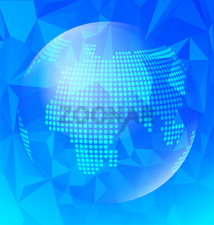 Abstract blue polygonal with globe