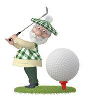 3d little man golfist.