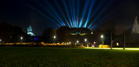 Memorial of Kaiser Wilhelm and fort Ehrenbreitstein panorama by night with light beams