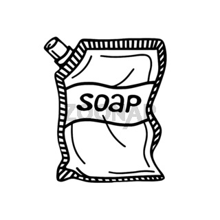 hand-drawn packaging with liquid soap, isolated on a white background. Vector illustration in the Doodle style.