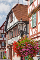Half-timbered architecture in the old town of Seligenstadt in Hesse