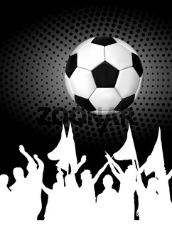 Soccer ball (football) with silhouettes of fans