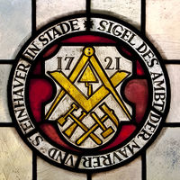 Seal of the guild of masons and stonemasons, stained glass window, town hall, Stade, Germany, Europe