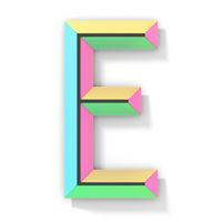 Neon color bright font Letter E 3D