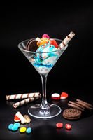 Ice cream balls in a glass with decoration
