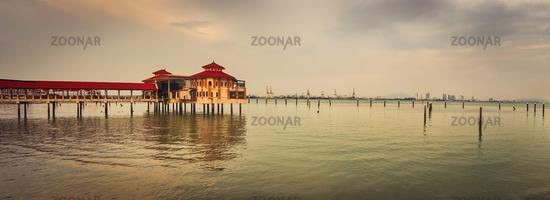 Penang coastline at sunset time. Panorama