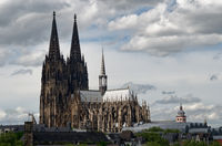 townscape of cologne with the cologne cathedral on a cloudy day