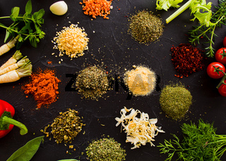 Collection of fresh vegetables and condiments, preservation for winter